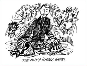 Cartoon from the June 29, 2009 edition of the Bawl Street Journal entitled: The Buy and Shell Game.