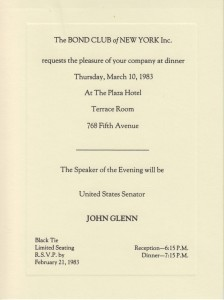 1983 Dinner Invitation from the Bond Club of New York.