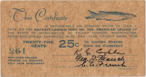 Washington Fish Skin Parchment Scrip, 1934